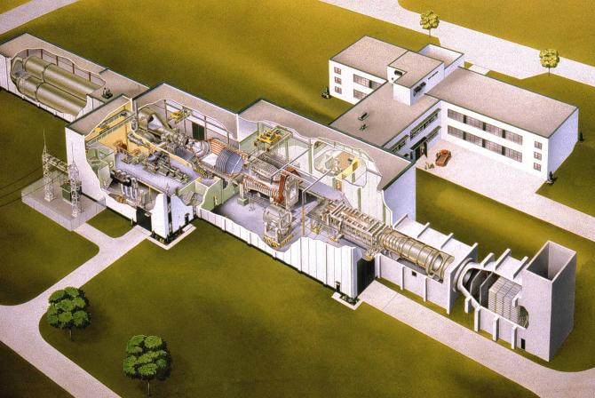 Cutaway drawing of the Trisonic Wind Tunnel building