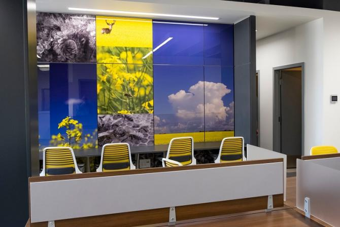 Reception area with yellow and black chairs, and wall of images of nature and bees