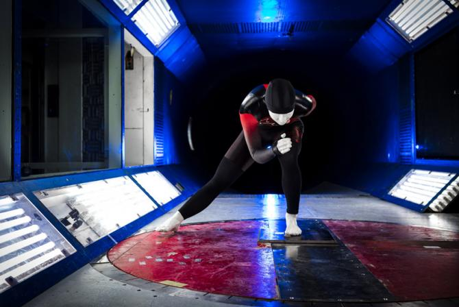 Human replica test subject mimicking athletic performance in the 2 m x 3 m wind tunnel