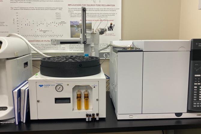 A Purge and Trap and a gas chromatograph analytical device in the laboratory